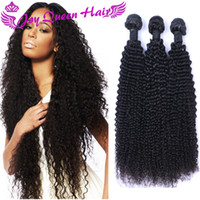 Wholesale Dyable Hair - Cheap Brazilian Curly Human Hair weaves 8A Peruvian Indian Malaysian Hair Bundles 3pcs hair Extension Double Machine weft dyable