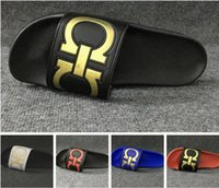 Wholesale Top Quality Flip Flops - New mens slide sandals TOP quality Fashion Slippers flip flops for men summer outdoor beach sandals slippers