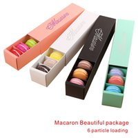 Wholesale Handmade Papers - Macaron Box Beautiful package Multi-purpose Hollow Short Paragraph Macaron box 6 particle loading Home Baking Packaging Box.