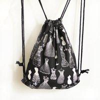 Wholesale Drawstring Sports Skirt - Cotton Leisure Drawstring Sports Backpacks For Student 2017 New Shoulder Bag Skirt Prints Sack Women Travel Shopping Bags Top Wholesale