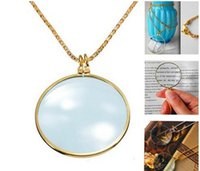Wholesale 6x Magnifier Pendant Necklace Magnify Glass Reeding Decorative Monocle Necklace Worldbusiness Gold Silver