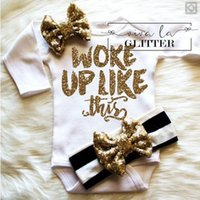 Wholesale Cute Girls Diapers - INS 2piece set outfits baby girl toddler Woke up like this Letter romper diaper covers bloomers play suits onesies+sequins glitter headband