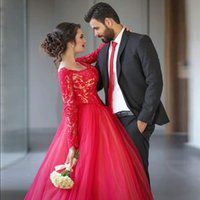 Wholesale cheap cotton maternity dresses - Arabic Style Lace Long Sleeve Prom Dresses Red Scoop Neck Applique Beaded Puffy Organza Ball Gown Prom Dress Cheap Formal Evening Gowns
