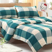 Wholesale Checked Bedding Sets - 4 Pieces sets 100% Cotton Lattice Bedding Set King Size Bedcover 3D Bedding Set Luxury Quilt Cover Sets