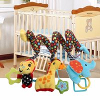 Wholesale Monkey Crib Bedding Sets - Wholesale- 25cm 1 Set Cute Cartoon Infant Baby Rattle Toy Music Plush Monkey Elephant Giraffe Crib Bed Stroller Hanging Bell Toys