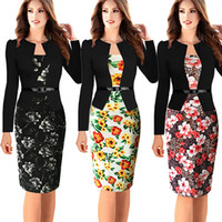 Wholesale Womens Elegant Long Sleeve Floral Printed Faux Jacket One Piece Belted Patchwork Work Business Pencil Sheath Bodycon Dress
