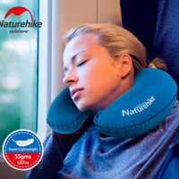 Wholesale Inflatable Travel Neck Cushion - Naturehike Outdoor Travel Air Pillow Folding Inflatable U Shape Neck Blow Up Cushion Portable Flocking Plane Pillows Free Shipping 2514027