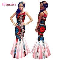 Wholesale Strapless Cotton Long Dresses Women - 2017 Women Dress Plus Size Mermaid Dress Vestido Floor-Length Strapless Yarn Long Dress Bazin Riche African Print Dresses WY662