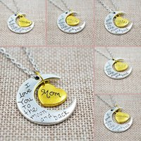 "Wholesale Two Heart Rhinestone Charm - ""I Love You To The Moon And Back"" Two-Piece Heart Crescent Family Charm Pendant Necklace Great Christmas Gift For Miss Mom Sister"