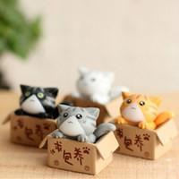 ingrosso gnomi in miniatura-Carino 4 colori scatola gatti animali fata giardino miniature gnome moss terrario home decor resina artigianato bonsai per casa delle bambole accessori fai da te