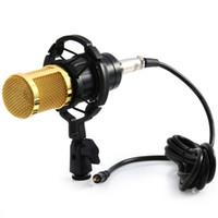 estudios kit al por mayor-BM-800 Dynamic Condenser Micrófono con conexión de cable Mic Studio de sonido para el kit de grabación KTV Karaoke con Shock Mount Envío gratis