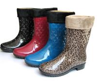 Wholesale Pvc Liner - Wholesale-2014 new warm rain boots for women lady's mid-calf fashion PVC winter cotton fabric liner shoes female water shoes 729 829
