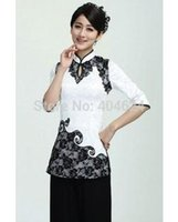 Wholesale Tang Blouses - 2016 Summer Qipao Shirt Women's Fashion Cheongsam Blouse Chinese Style Vintage Short-Sleeve Tang Suit Top S-XXL Size,Wholesale q0425