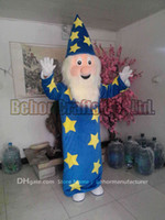 Wholesale Mascot Costumes Wizard - Magician mascot costume free shipping, cheap high quality carnival party Fancy plush walking wizard mascot adult size.