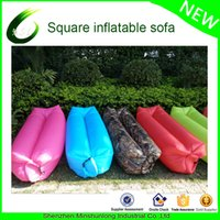 Wholesale Wholesale Ripstop Nylon - Wholesale- inflatable Convenient Outdoor Camping Banana Air Sleeping Bag colorful ripstop lazy lounger couch sac de couchage slaapzak