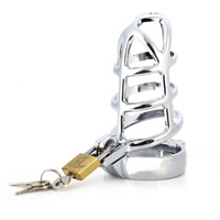 Wholesale Men Lockable Cage - 45MM Lockable Penis Cage Stainless Steel Chastity Belt Penis Cock Ring Sleeve Male Chastity Device Cage for Men +B