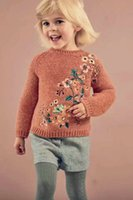 Wholesale Children Boutique Clothing Sweater - Autumn Winter New Girls boutique clothing floral embroidery Children Sweaters Crochet Knitting Patterns Pullover Sweaters kids Tops A987