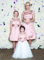 Wholesale Mocha Dresses - Charming Cropped Topper Mocha Bridesmaid Dresses Cheap 2017 Empire Satin Short Sleeves Pleated Maid Of Honor Dresses Knee-Length
