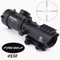 Wholesale Fire Airsoft - FIRE WOLF Tactical 4X32LER Red Dot Sniper Scope Airsoft Sight Riflescope Night Vision Rifle Scope for Hunting Shooting
