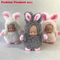 Wholesale Silicone Men Dolls For Women - Fashion Reborn Baby Sleeping Keychain Doll Lifelike Alive Silicone Rabbit Bear Baby Plush Toy Birthday Gift For Girls