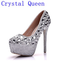 Wholesale Wholesale Lady Stiletto Shoes - Crystal Queen Women Shoes Pumps Handmade Diamond Wedding Shoes Sexy Women's High Heels Lady Dress Shoes Multiple Height Options