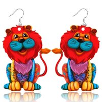 Wholesale Woman Lion Paint - 2017 creative gift animal pendant earrings acrylic painted cartoon colorful lion drop earrings for women jewelry wholesale free shipping