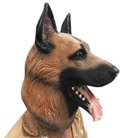 Wholesale Heads Dance - Animal Dog Head Full Face Latex Party Mask Halloween Dance Party Costume Wolfhound Masks Theater Toys Fancy Dress Festival Gift