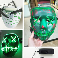 Wholesale Light Up Skull - The Purge Election Year Led Glowing Masks EL Wire Mask Light Up Neon Skull Volto Mask Halloween Club Scarey Horror Grimace Bloody Theme Mask