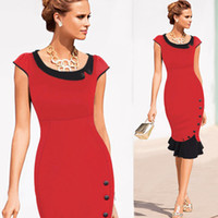 Wholesale Babies Ruffled Dresses - New Sexy Red Middle Mermaid Women Bodycon Work Dresses Slim Print Flower OL Skirt Strapless Baby Neck Panelled Ruffled HOT Sale Cheap Price