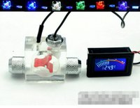 Wholesale Computer Water Cooling System - Wholesale- Flow Scout Meter with LED light And Pointer Thermometer For Water Liquid Cooler System CPU with fitting