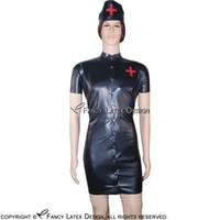 sexy negro enfermeras uniforme al por mayor-El traje de goma negro de los  juegos 99f9e9de03d7