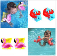 Wholesale Swim Trainer Ring - Inflatable Flamingo Floating Child Swim Vest Arm Float Ring Circle Infant Float Neck Swim Trainer Swimming Pool Accessories Free Shipping