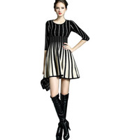 Wholesale Long Sleeve Retro Knit Dress - Wholesale-Retro Women long knitted The sweater Dress female 2015 New fashion Slim The sweater Patterns tutu haute couture The sweater