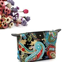 Vente en gros - Woweino Multifonctionnel Femmes portatives Vintage Flowers Pattern Maquillage Bag Storage Organizer Beauty Case Travel Pouch Comestic