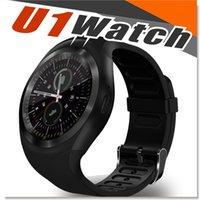 u1 умные часы оптовых-U1 Y1 смарт-часы 1.54 дюймов IPS круглый сенсорный экран водонепроницаемые Smartwatch телефон с слот для SIM-карты смарт-часы для IOS Android