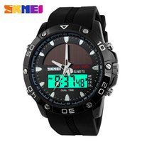 Wholesale Men Watches Solar - atches Quartz Wristwatches Watches Waterproof Solar Power Sports Casual Watch Man Men's Wristwatches 2 Time Zone Digital Quartz LED Cloc...
