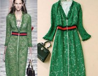 Wholesale T Paragraph Spring - Star with the paragraph 2017 early spring new women 's T station runway models lace long - sleeved dress green dress
