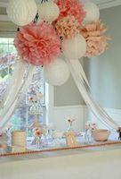 "Wholesale Large Flowers For Wedding - Wholesale- Holiday Supplies 14"" (35 CM) Decorative Large Tissue Paper Pom Poms Flower Balls decoraciones para bodas for Wedding Party"