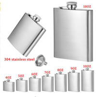 Wholesale Stainless Steel Whisky Bottle - 4oz 5oz 6oz 7oz 8oz 10oz 18oz Jug Stainless Steel Hip Flask Portable Outdoor Flagon Whisky Stoup Wine Pot Alcohol Bottles