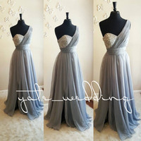 Wholesale Chiffon One Shoulder Dresses - Silver Gray One Shoulder Bridesmaid Dresses Crystal Beaded Pleated Chiffon Floor Length Flowy Purple Wedding Guest Dresses Maid Of Honor