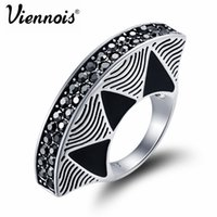 Atacado- Viennois Fashion Jewelry Vintage Silver Color Fan Rings para Mulher Black Finger Rings Full Rhinestone Paved Party Rings