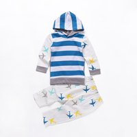 Wholesale Girls Plane T Shirt - INS Baby girl clothes child plane hooded T-shirt coat striped pants fashion casual kids tracksuit cotton sport suit