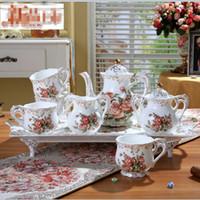 pacote de xícara de café venda por atacado-New Bone china Rose Flores Clássico Europeu De Cerâmica Copo De Café set 8 Chá Pote Drinkware Upscale copos e pires Caixa de Embalagem de Presente
