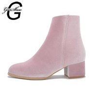 Venda quente Brand Women Ankle Boots Velvet Winter Shoes 3.5CM Saltos Black Royal Blue Pink Boots Mulheres Square Heel Tamanho 35-40