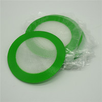 Wholesale Food Grade Silicone - 5pcs lot round Silicone Mats Wax Non-Stick Pads Silicon Dry Herb Mat Food Grade Baking Mat Dabber Sheets Jars Dab Pad Green