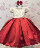 Wholesale birthday dresses for sale for sale - Group buy Hot Sale Pearls Ball Gown Flower Girl Dresses For Weddings Little Girls Pageant Dress Satin Short Sleeves Lace First Communion Gowns