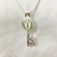 Wholesale Heart Lockets Open - 925 Silver Wish Bead Pendant Locket  Can Open Key Heart Cage