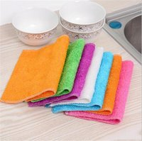салфетка для чистки микрофибры оптовых-Высокоэффективная цветная салфетка из микрофибры, полотенце для мытья посуды из бамбукового волокна, чистящая салфетка Magic Kitchen, тряпки для мытья посуды