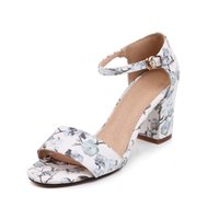 Wholesale Chinese Summer Sandals - Chinese sweet style comfortable summer cool sandals fashion belt buckle flower black white pink high-heeled women's shoes