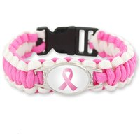 Wholesale pink ribbon women - Statement Pink Ribbon Charm bracelets breast cancer Fighter awareness Outdoor Wristbands Bangle For women&men Sports Jewelry